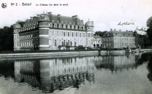 1942 – Château de Beloeil – a postcard I mailed to my parents showing my dortoir (dormitory) although later I slept in the right tower under the roof
