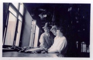 1936 –Uncle Benno, my father and my mother inspecting skins at 46-48 Brühl.  The ceiling is full of hanging raw skins that still have to be processed
