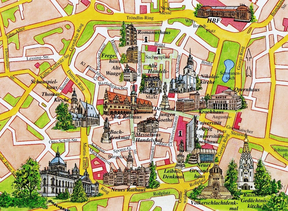 Center of Old Leipzig ­­– We lived corner Lessing and Thomasius, upper left corner of map