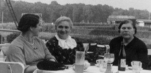Ladies Afternoon Tea at the racetrack. From left to right, my mother, Tante Biena and my Birnbaum grandmother