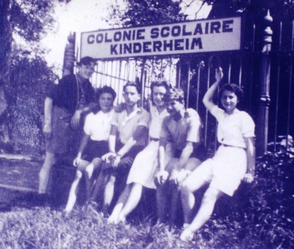 1944 – L. to R. Monsieur Jean, scout, réfractaire and big boys' counselor, Rosalie, Roger, Melle Meytens, younger  kids' teacher, the Viennese and I in my new shorts
