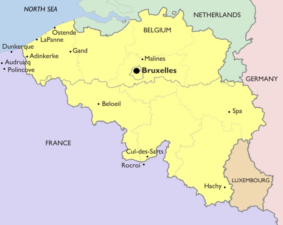 Map of Belgium with approximate locations of the towns mentioned in my stories.
