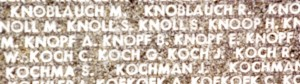 1995 – I visited the Memorial and took a picture of the KNOPF names