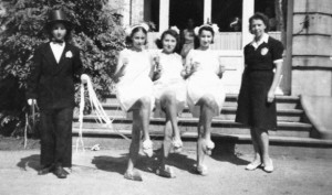Dance of the ponies with me as the driver. L. to R. Zazou, Rosalie, Isabelle and Madame Rémy, our dance teacher and costume maker